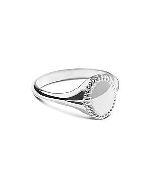 Shinola Sterling Silver Coin Edge Petite Signet Ring