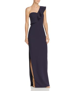 LIKELY Halsey Ruffle One-Shoulder Gown in Navy