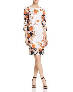 St. John Modern Floral Charmeuse Dress