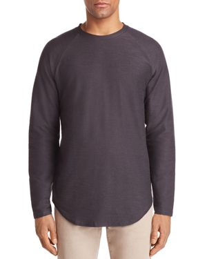 VITALY Scalloped Hem Crewneck Shirt in Charcoal