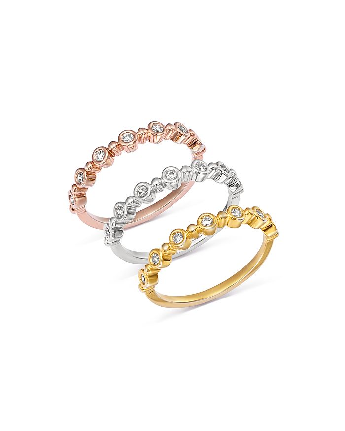 Bloomingdale's - Diamond Bezel Beaded Stacking Rings in 14K Gold - 100% Exclusive