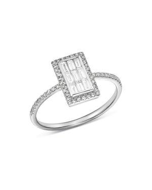 KC DESIGNS 14K WHITE GOLD MOSAIC ILLUSION DIAMOND RING