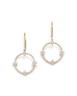 KC DESIGNS 14K YELLOW GOLD OPEN CIRCLE DIAMOND DROP EARRINGS