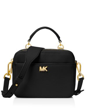 Mott Pebbled Leather Crossbody Bg - Black