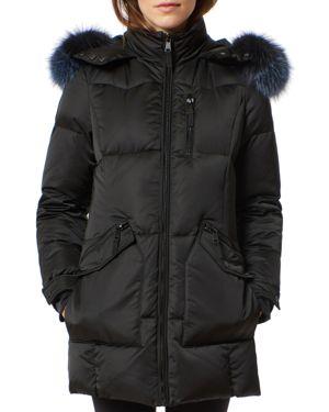ONE MADISON Fur Trim Puffer Coat in Black/Indigo