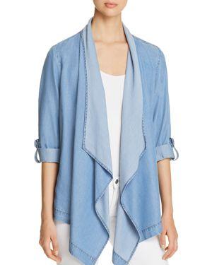 New York Chambray Drape-Front Jacket, Light Blue from DKNY