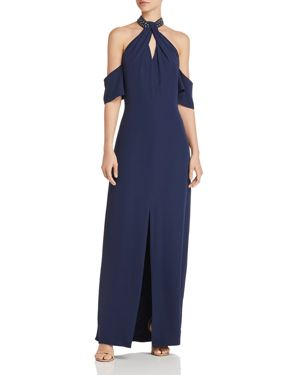 Laundry by Shelli Segal Cold-Shoulder Crepe Gown