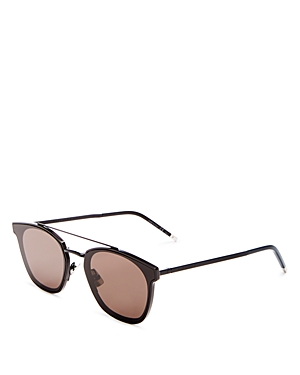Saint Laurent Brow Bar Square Sunglasses, 61mm-Men