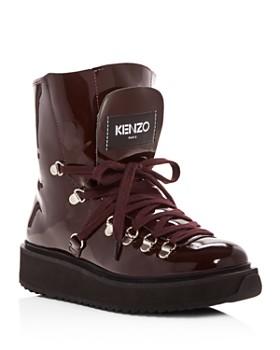Kenzo - Women's Alaska Patent Leather & Shearling Platform Booties