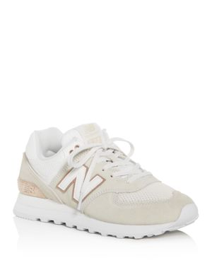 New Balance Women's 574 Rose Classic Suede Lace Up Sneakers