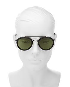 rag & bone - Women's Leather Frame Brow Bar Round Sunglasses, 49mm