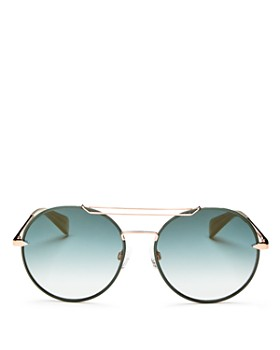rag & bone - Women's Mirrored Brow Bar Round Sunglasses, 59mm