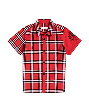 Burberry Boys' Sammi Check Emblem Shirt - Little Kid, Big Kid