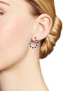 Bloomingdale's - Blue Sapphire & Diamond Front-Back Hoop Earrings in 14K White Gold - 100% Exclusive