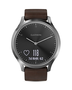 Garmin - vívomove® HR Premium Hybrid  Brown Leather Strap Smartwatch, 43mm