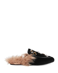 Gucci - Women's Princetown Embroidered Velvet & Lamb Fur Mules