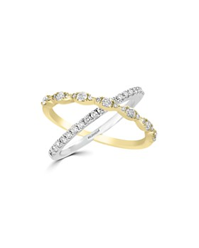 Bloomingdale's - Diamond Crossover Ring in 14K White & Yellow Gold, 0.60 ct. t.w. - 100% Exclusive