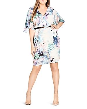 City Chic Plus Jungle Floral Faux-Wrap Dress