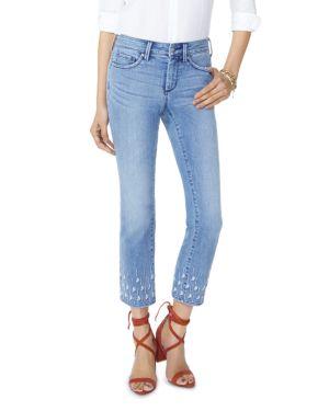 NYDJ Petites Sheri Slim Ankle Palm Dot Jeans In Point Dume