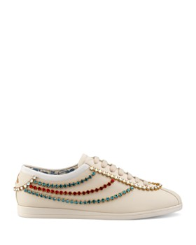 best website 15e95 6537e ... Gucci - Women s Falacer Leather   Crystal Trim Sneakers