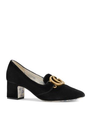 Women'S Velvet Double G Mid Heel Pumps in Black