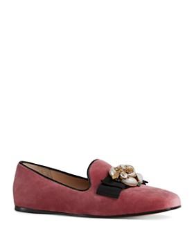 Gucci - Women's Embellished Velvet Flats