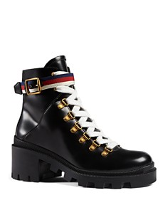 Gucci - Women's Trip Leather Ankle Booties