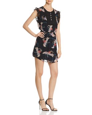 DANIEL RAINN BIRD-PRINT CHIFFON DRESS