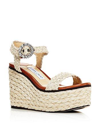 fc9fcfaaf19dc Jimmy Choo Women s Nylah 100 Braided Raffia Wedge Sandals ...