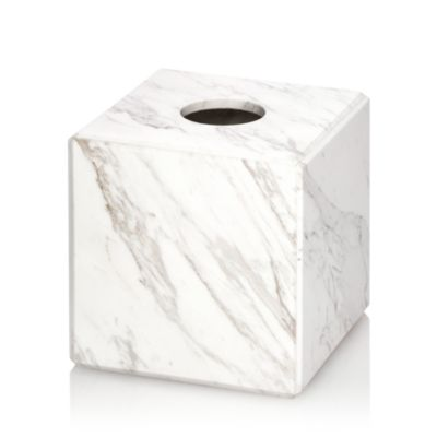 Studio White Marble Tissue Holder by Waterworks