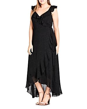City Chic Plus Swiss Dot Ruffle Wrap Maxi Dress