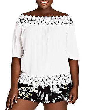City Chic Plus Maui Floral Ruffle-Trim Shorts