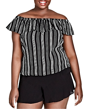 City Chic Plus Striped Off-the-Shoulder Top