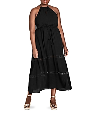City Chic Plus Sleeveless Crochet-Inset Maxi Dress