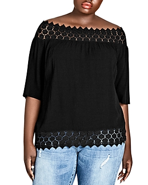 City Chic Plus Grace Crochet-Trim Off-the-Shoulder Top