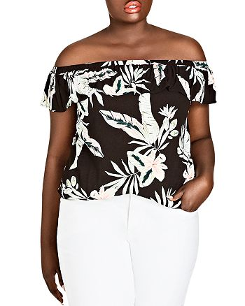 City Chic Plus - Oahu Floral Off-the-Shoulder Top