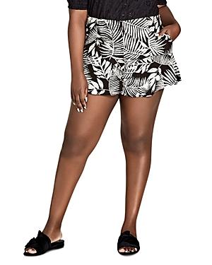 City Chic Plus Palm-Print Ruffle-Trim Shorts
