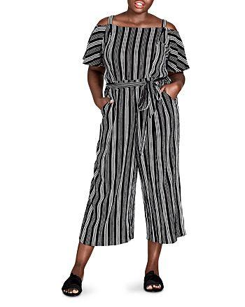 City Chic Plus - Striped Cold-Shoulder Jumpsuit