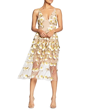 Dress the Population Betsy Floral Illusion Dress