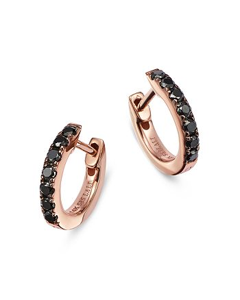 Bloomingdale's - Black Diamond Huggie Hoop Earrings in 14K Rose Gold, 0.20 ct. t.w. - 100% Exclusive