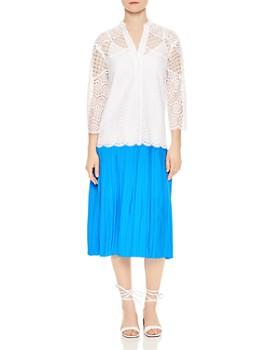 Sandro - Maca Eyelet Lace Pleated Skirt Midi Dress