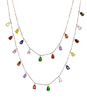 Multi-Stone Layered Pendant Necklace in Sterling Silver or Gold-Tone Sterling Silver