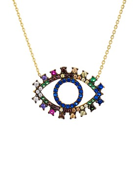 "AQUA - Multicolor Eye Pendant Necklace in Gold Tone-Plated Sterling Silver, 15"" - 100% Exclusive"