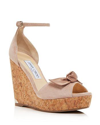 Jimmy Choo - Women's Dessie 120 Suede Platform Wedge  Peep Toe Sandals