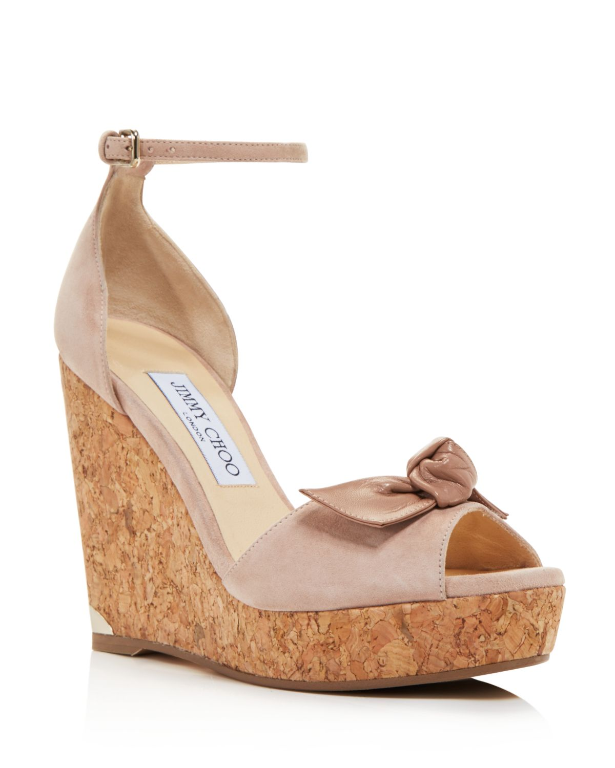 Jimmy choo Women's Dessie 120 Suede Platform Wedge Peep Toe Sandals
