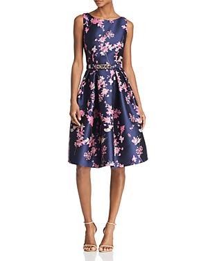 Eliza J Belted Floral Jacquard Dress