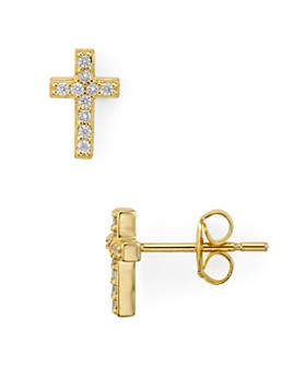 AQUA - Small Cross Stud Earrings in Platinum-Plated Sterling Silver or 18K Gold-Plated Sterling Silver - 100% Exclusive