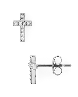 Small Cross Stud Earrings in Platinum-Plated Sterling Silver or 18K Gold-Plated Sterling Silver