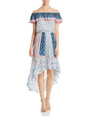 TOLANI MIXED-PRINT OFF-THE-SHOULDER DRESS