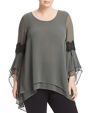New Estelle Virtue Lace-Trimmed Tiered Top, Sage